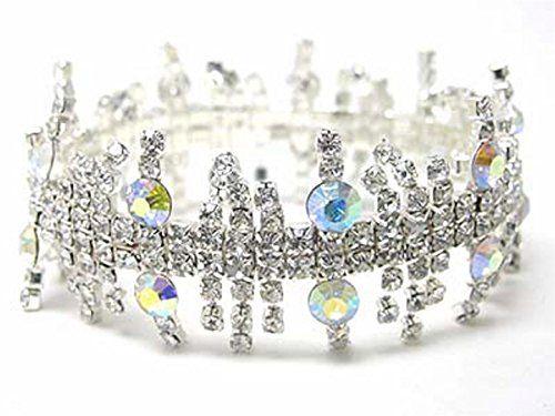 Fancy Stretch Bracelet C54 Clear AB Crystal Silver Tone Elegant Recyclebabe www....