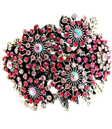 Hinged Cuff Bracelet C56 Pink Fuchsia Crystals Burnished ... www.amazon.com/...