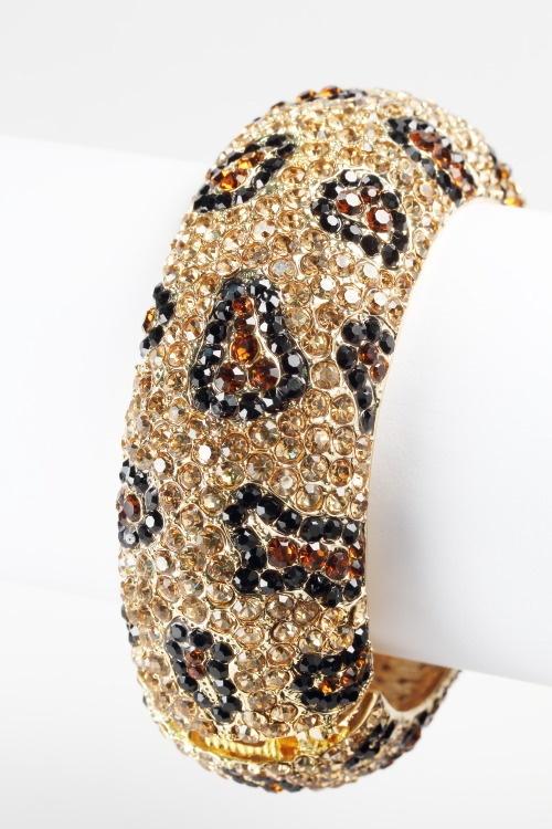 Gorgeous Crystal Studded Leopard Bangle Bracelet