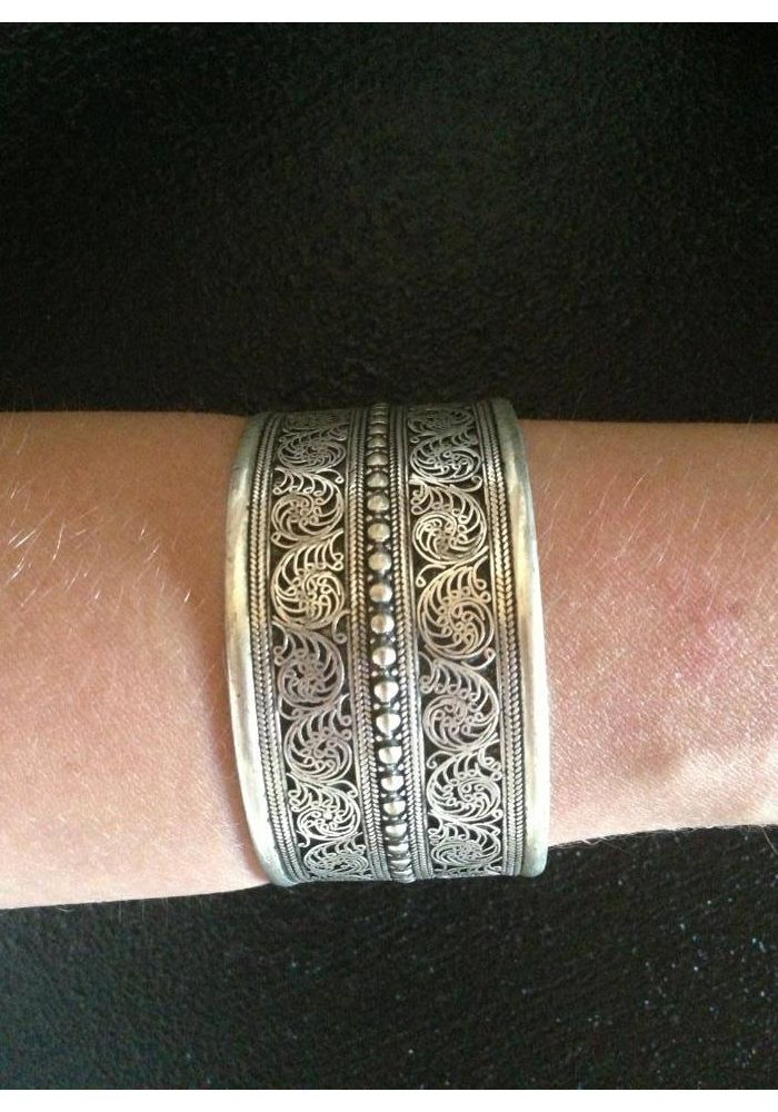 Amour cuff available at The Boho Bazaar. Nepalese silver featuring pretty artisa...