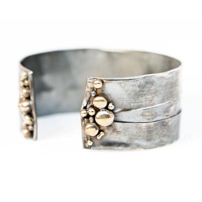 Continental Divide Adjustable Bracelet- Sterling Silver Fold Form Organic Bronze...