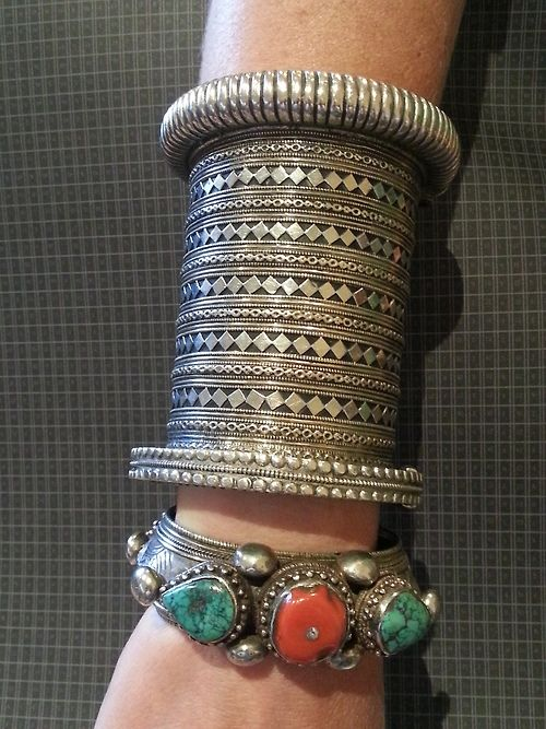 Coral and Turquoise Tibetan cuff combined with a silver cuff from Afghanistan