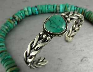 Green Turquoise Braided Sterling Cuff Bracelet