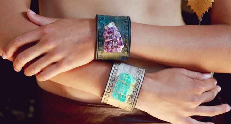Lux Divine stone & leather cuffs.