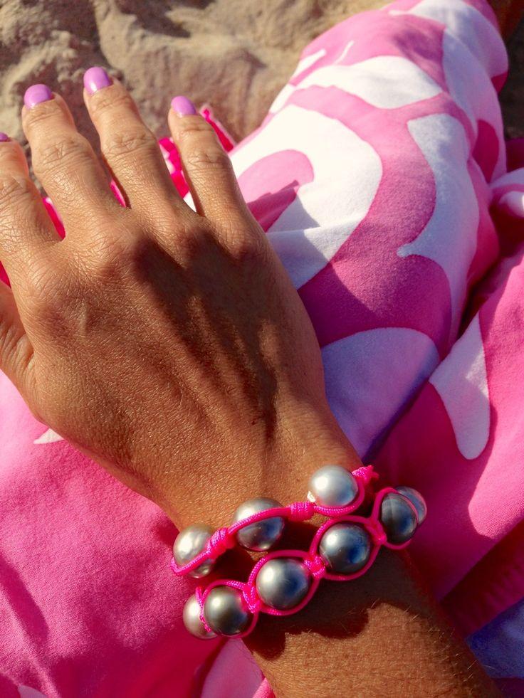 pearl. love. neon pink chunky & shambala Tahitian pearl bracelets