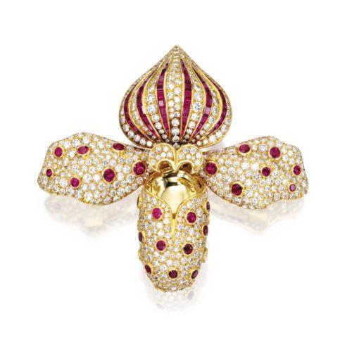 18 Karat Gold, Diamond and Ruby Orchid Brooch, René Boivin, France | Lot…