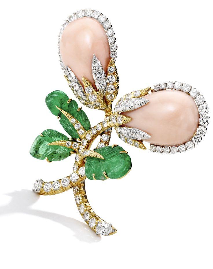 18 Karat Gold, Platinum, Coral, Diamond, and Emerald Brooch, David Webb Designed...