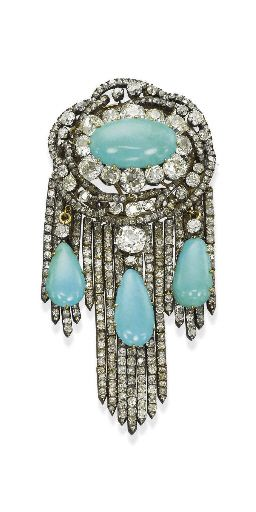 1870s Diamond Persian Turquoise Brooch, Christies (a favourite repin of VIP Fash...