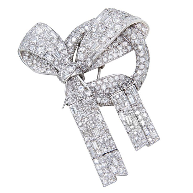1930s Platinum & Diamond Ribbon brooch | From a unique collection of vintage bro...