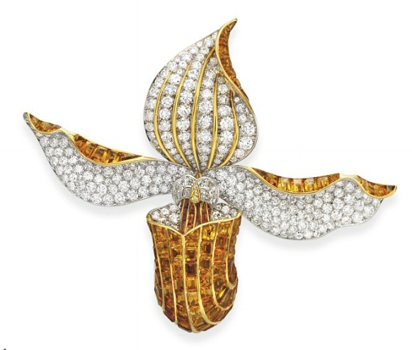 A SUPERB DIAMOND AND CITRINE ORCHID BROOCH, BY RENE BOIVIN Designed as an orchid...