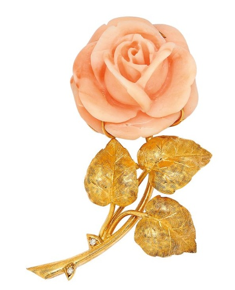 A rose, coral and diamond brooch, by G Nardi, in the form of a rose, symbol of l...