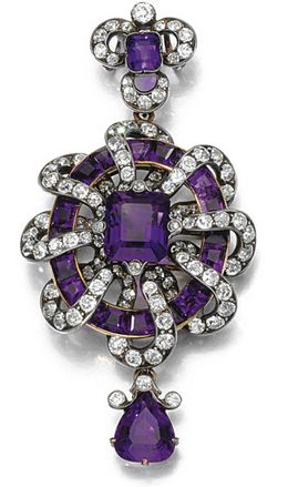 AMETHYST AND DIAMOND PENDANT, CIRCA 1880 The central step-cut amethyst within a ...