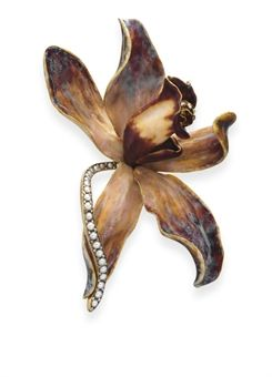 An antique diamond, pearl and enamel orchid brooch, Tiffany  Co., circa 1890
