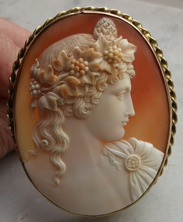 Antinous Vertumnus antique cameo, Cornelian shell, coral and hardstone cameo, ca...