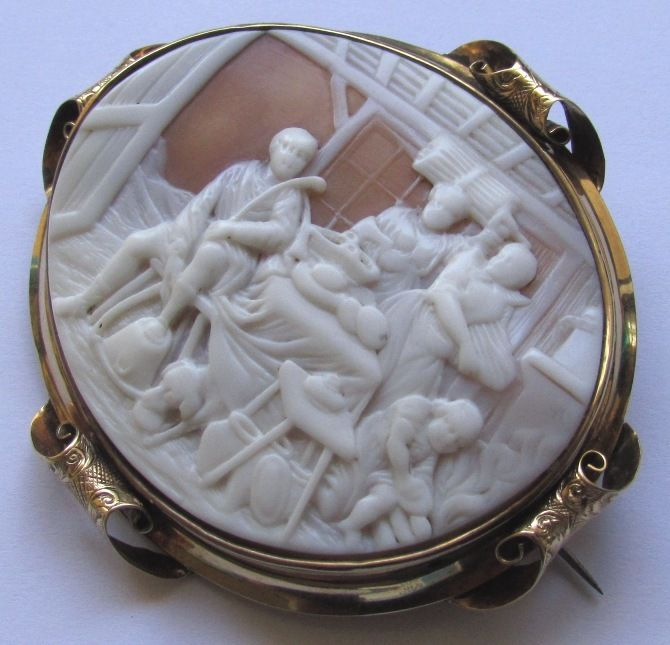 Antique Victorian 15K Gold Cameo Brooch Country Scene from waterside-dream on Ru...