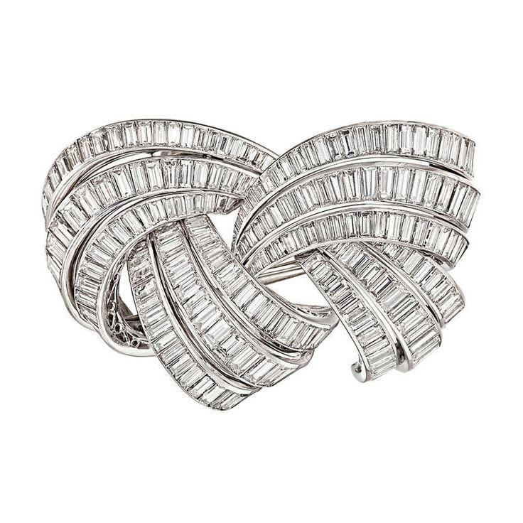 Boucheron Baguette-Cut Diamond Scroll Brooch | From a unique collection of vinta...