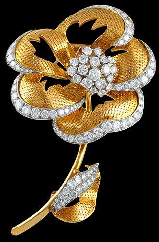CARTIER Diamond Flower Brooch. Circa 1980s