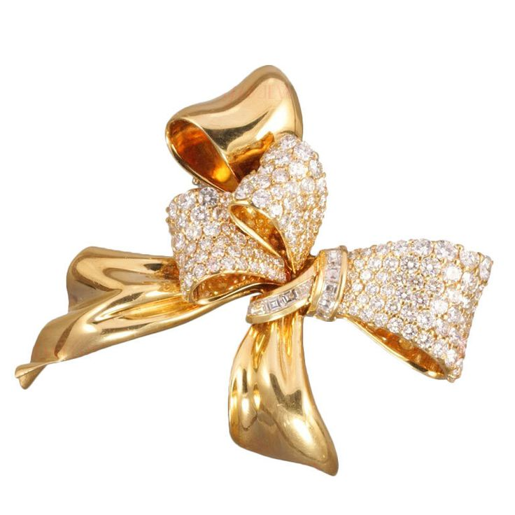 CHAUMET Diamond Yellow Gold Bow Brooch | From a unique collection of vintage bro...