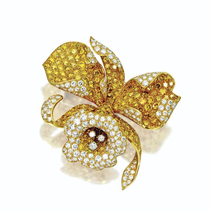 DIAMOND ORCHID BROOCH, VAN CLEEF & ARPELS, PARIS, 1968 The three-dimensional flo...