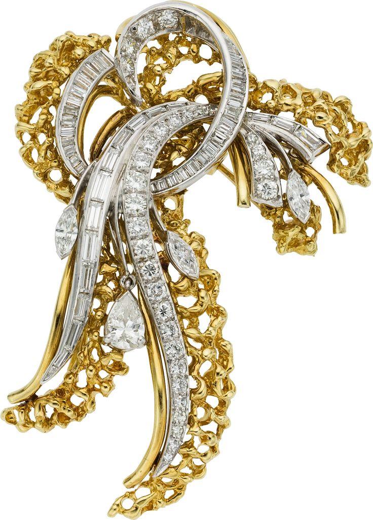 Diamond, Platinum, Gold Brooch