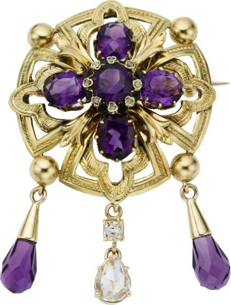 Estate, 18k Gold, Amethyst  and Diamond Brooch. -- Heritage Auctions