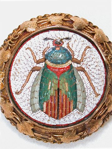 Ever the rage during the 1800s, this Italian micro mosaic of a scarab beetle sen...