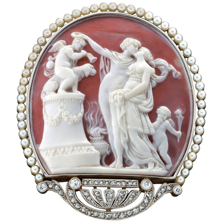 Exquisite Belle Epoque Pearl Diamond Cameo Brooch. Exquisite Belle Epoque period...