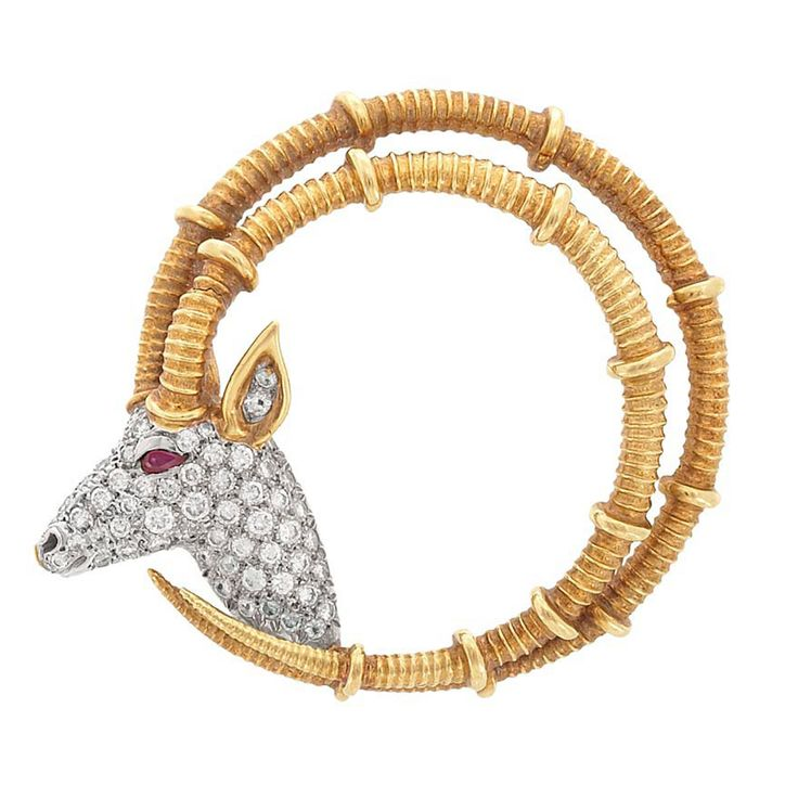 Gold, Platinum, Diamond and Ruby 'Ibex' Brooch, Tiffany & Co., Schlumber...