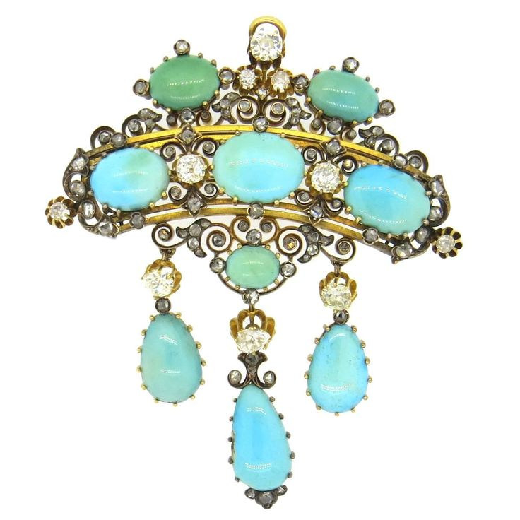 Impressive Antique Gold Diamond Turquoise Brooch Pendant