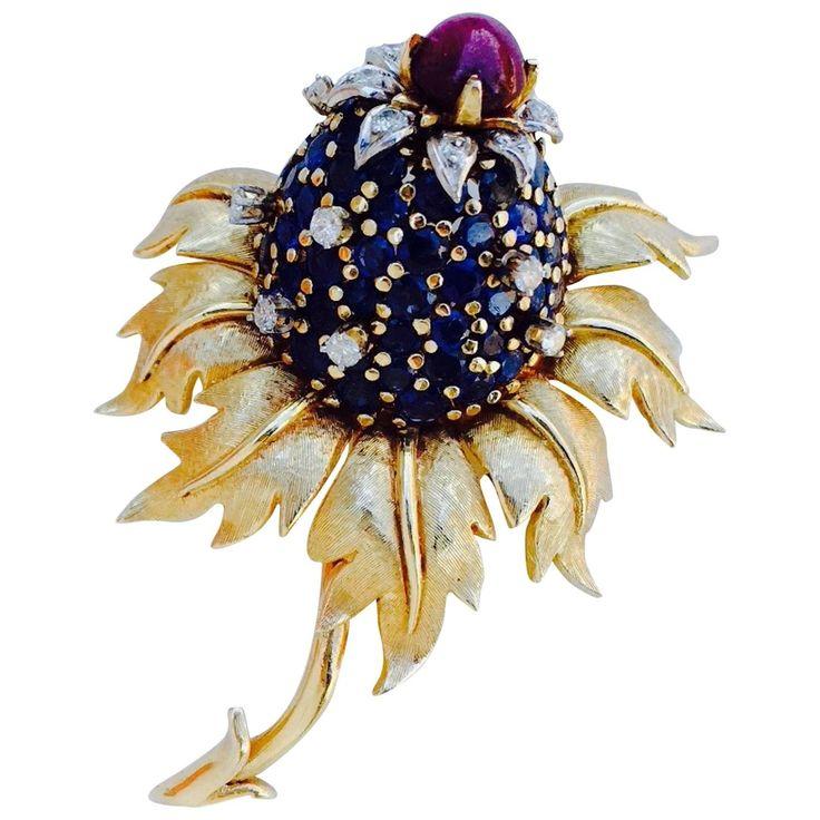 Jean Schlumberger Tiffany & Co. Gold Sapphire Diamond Ruby Thistle Brooch