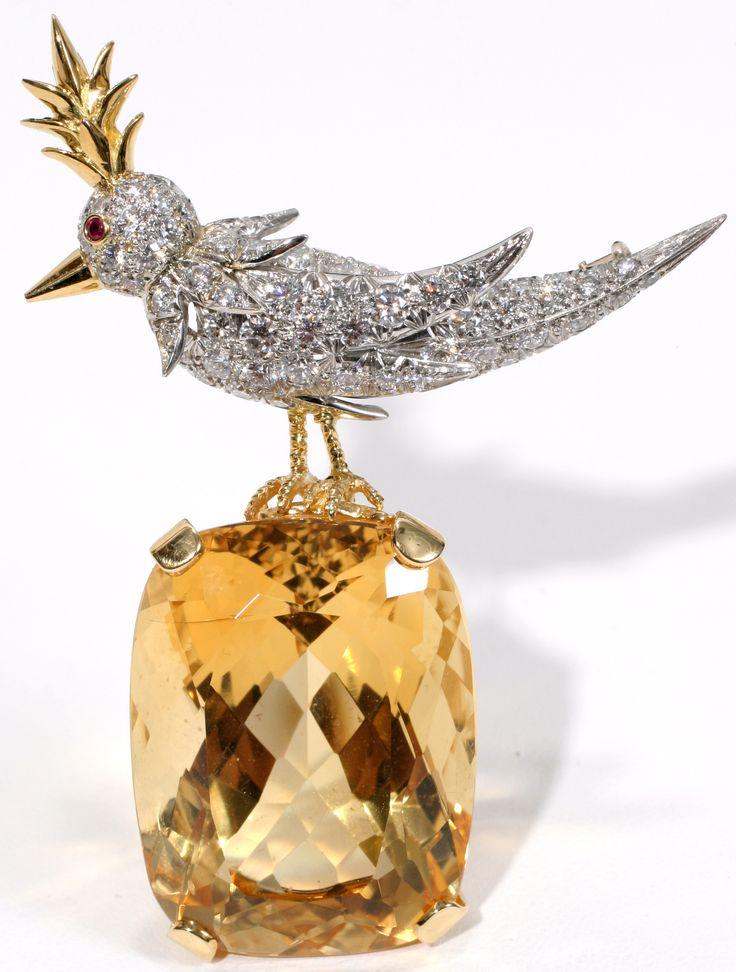 Jean Schlumberger for Tiffany & Co. 59.00ct Citrine & Diamond 'Bird On A Roc...