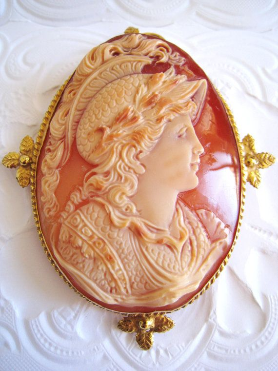 Museum Quality Italy Huge Real Shell Cameo Pendant Antique Silver 18K Gold Pin G...