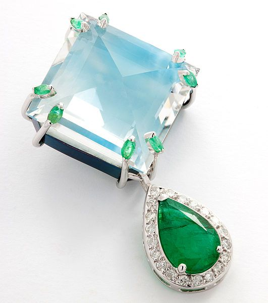 Pendant of larimar with emerald and diamonds. Designed by Andree Guittcis. photo...