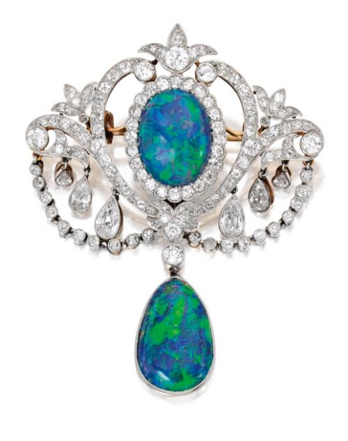 Platinum-Topped Gold, Opal and Diamond Pendant-Brooch:The top centering an…