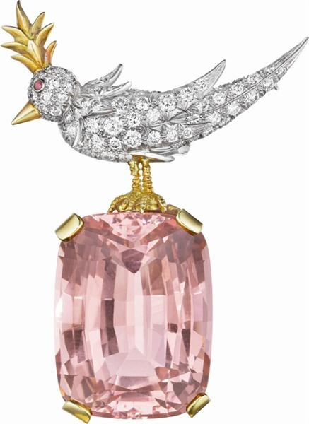 SCHLUMBERGER for TIFFANY & CO.  A Kunzite, Diamond, and Ruby 'Bird on a Rock...