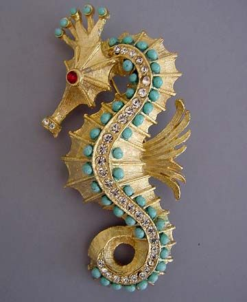SEAHORSE brushed gold tone seahorse brooch with aqua beads, clear and red rhines...