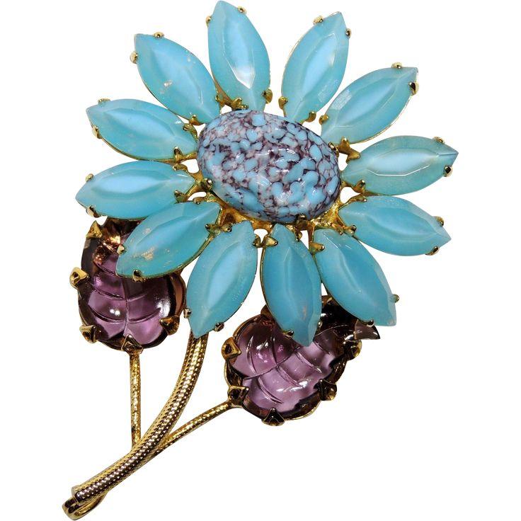 Schreiner New York Flower Brooch, Pin, Pendant. Molded Art Glass, Blue, Purple, ...