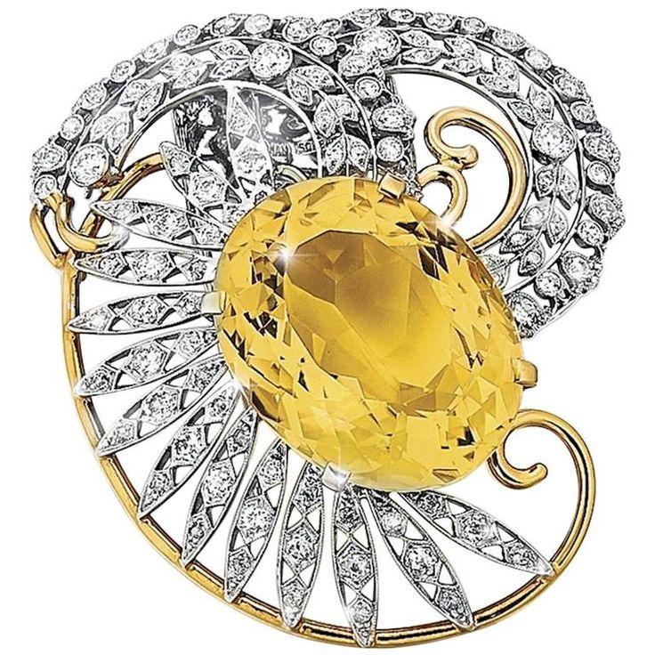Seaman Schepps Citrine Diamond Gold Platinum Brooch  | From a unique collection ...