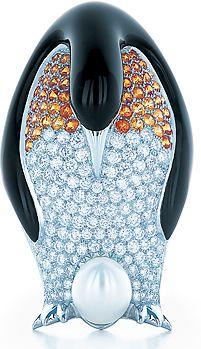 Tiffany & Co. Emperor Penguin brooch in platinum, black lacquer, diamonds, and s...