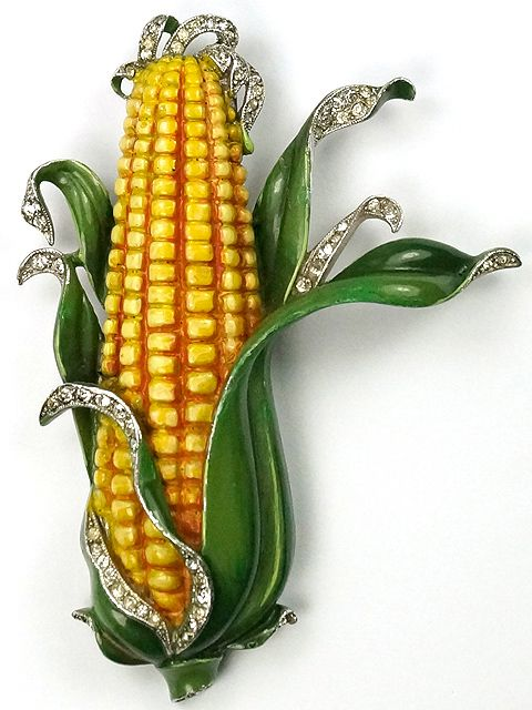 Trifari 'Alfred Philippe' Pave and Enamel Corn on the Cob Pin Clip