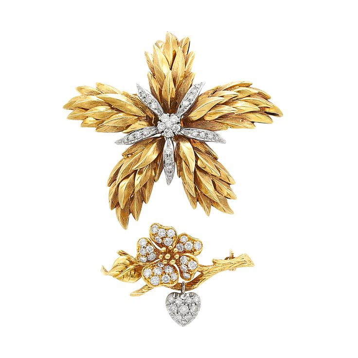 Two Gold and Diamond Flower Brooches, Tiffany & Co