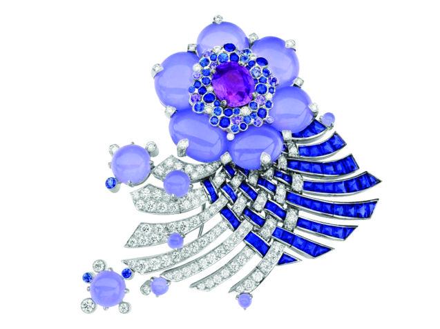 VAN CLEEF & ARPELS    Sapphire and diamond flower brooch, price upon request; av...