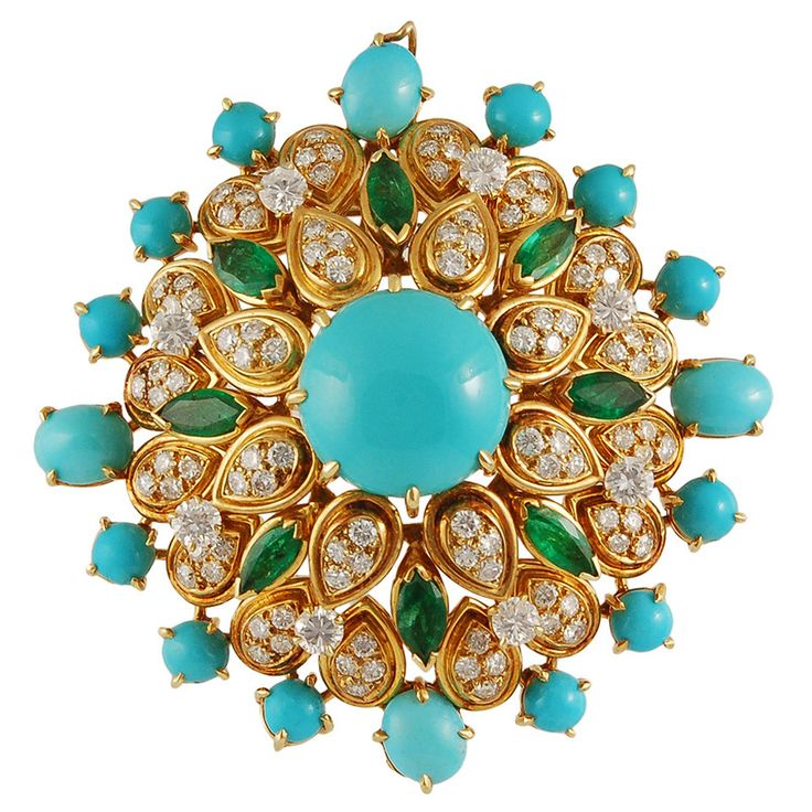 Van Cleef & Arpels Turquoise Emerald Diamond Gold Brooch | From a unique collect...