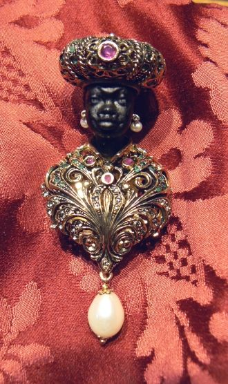 Venetian Blackamoor Brooche with genuine stones emeralds and rubys, genuine pear...