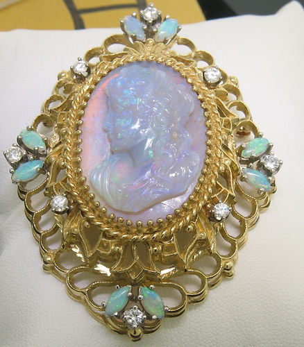 Vintage 14k Solid Gold Carved Opal Cameo Diamond Large Brooch Pendant Open Work ...