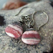 Banded Rhodochrosite Wire Wrapped Loop Dangle Earrings Sterling Silver