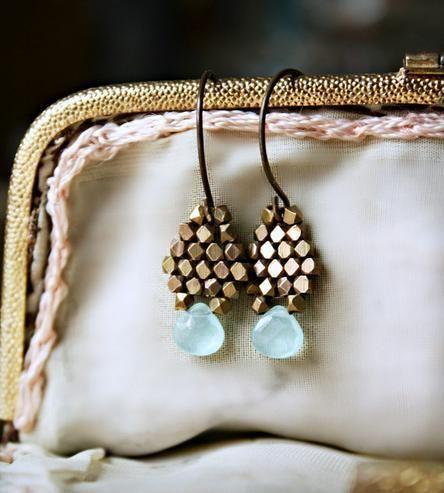 Blue Chalcedony and Brass Drop Earrings by Caprichosa Jewelry