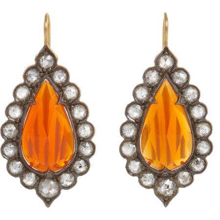 Cathy Waterman Fire Opal & Diamond Lace Earrings