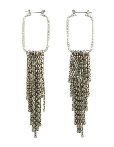 Chain Fringe Square Earrings  These edgy earrings feature hammered squares with ...