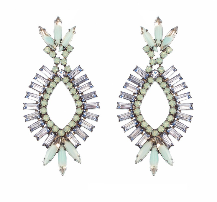 Elizabeth Cole Jewelry - Drop Baguette & Navette Earrings, Light Blue